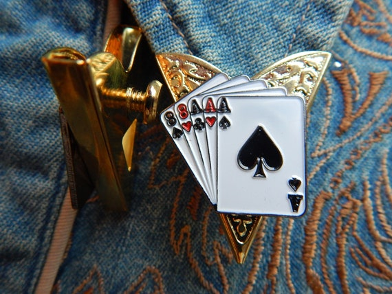 BOLO TIE COLLAR TIPS SET,SILVER METAL,WESTERN NEW ACE OF SPADES FULL HOUSE