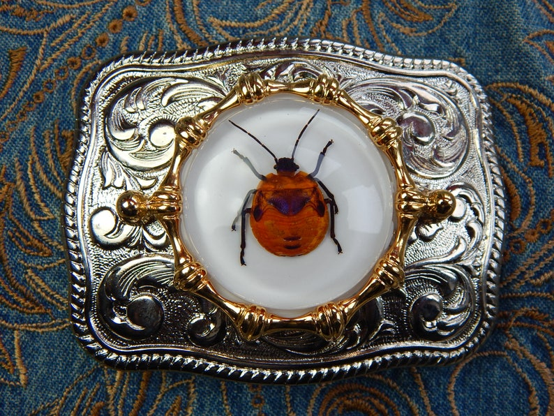 Handcrafted in the UK Silver Metal Large Belt Buckle Flower Bug Insect Spider Western Goth Ladies Mens Rockabilly