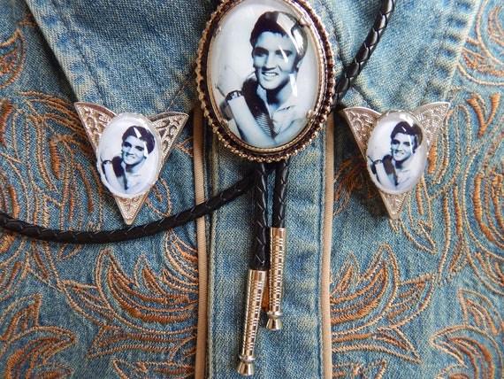 Handcrafted in the UK Elvis Presley Bolo Bootlace Tie and Collar Tips Set Gold Coloured Metal  Wedding Groom Ladies Mens