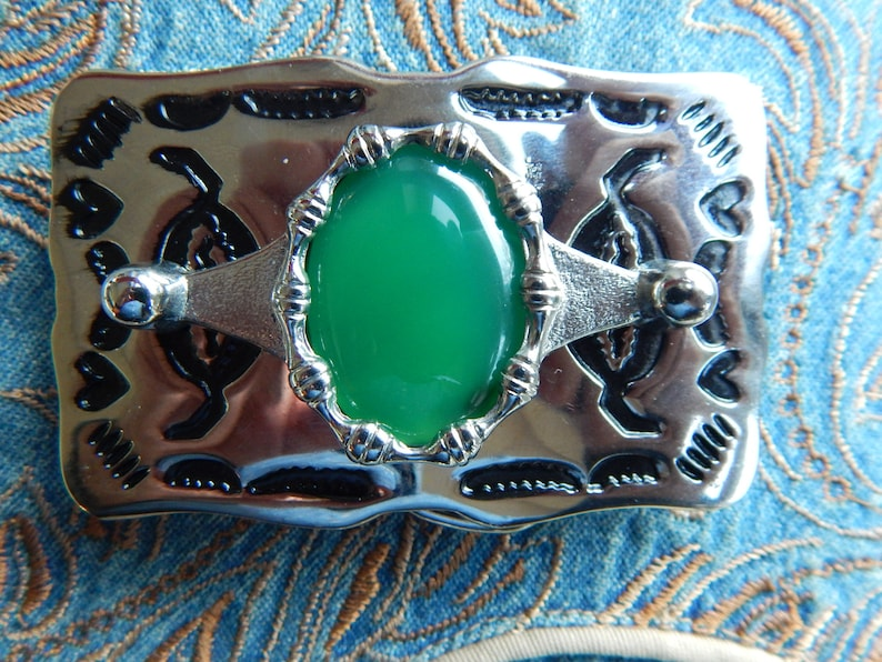 NEW HANDCRAFTED IN UK GREEN MALACHITE BELT BUCKLE GOLD//BLACK  METAL,WESTERN,GOTH