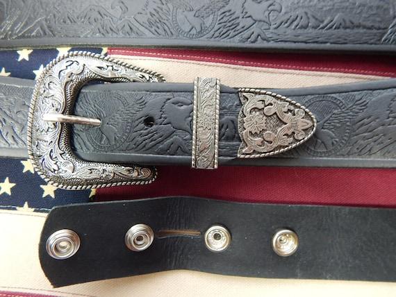 Bright Silver Metal 3 Piece Buckle Set 40mm S M L XL Black Leather Western Belt
