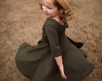 8e995a455e Girls Olive Green Twirly Dress