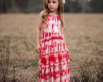 77616a7d Girls Sleeveless Red and White Maxi Dress, Maxi Dress, Girls Maxi Dress,  Girls Long Dress - Sizes 4/5, 6/6x, 7/8, 10/12, 14 Ready to Ship