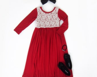 Girls Red Long Sleeve Maxi Dress with Lace d581fba86
