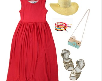 2854456870a Girls Red Coral Maxi Dress, Red Coral Maxi Dress, Girls Maxi Dress,  Sleeveless Maxi Dress Sizes 2/3, 4/5, 6/6X, 7/8, 10/12 Ready to Ship