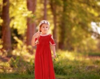 0bb11b76a52d9 Girls Red Cold Shoulder Maxi Dress, Girls Long Red Dress, Girls Red Dress, Girls  Red Maxi Dress Sizes - 4/5, 6/6x, 7/8, 10/12 Ready to Ship
