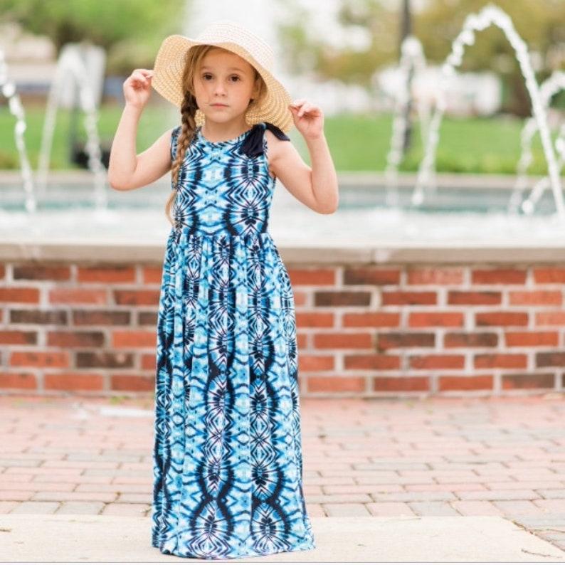 5c69c140f9c Girls Sleeveless Navy Blue Tie-Dye Maxi Dress Maxi Dress | Etsy