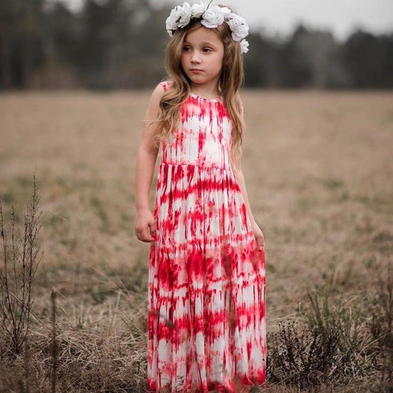 ff787bdc7fe Girls Sleeveless Red and White Maxi Dress Maxi Dress Girls | Etsy