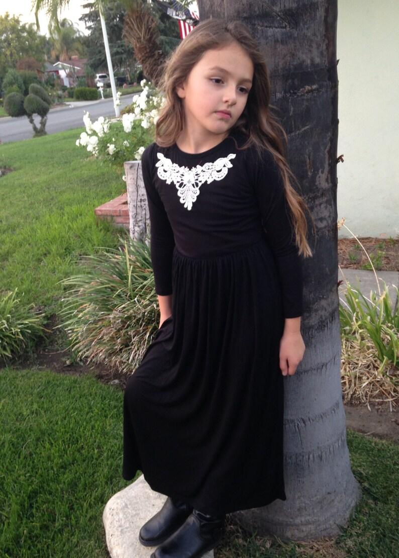 f6e8a760122 Girls Long Sleeve Black Maxi Dress w Ivory Applique Girls