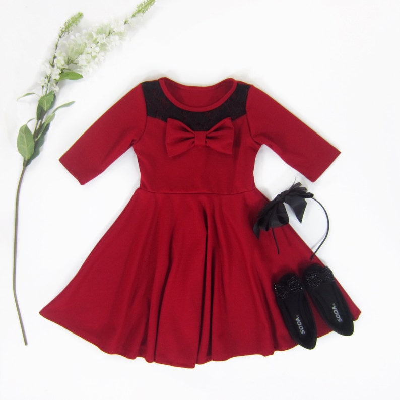 ebb07fa2d3 Girls Red Dress with Black Lace on Bodice Red Twirly Dress