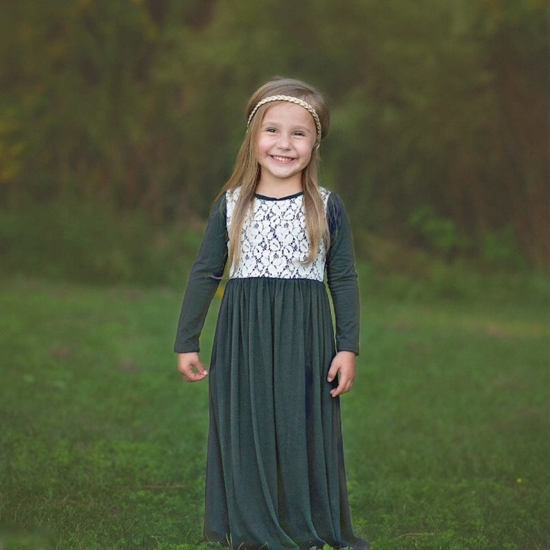 d796f5959816 Girls Olive Green Long Sleeve Maxi Dress w Lace Girl Long