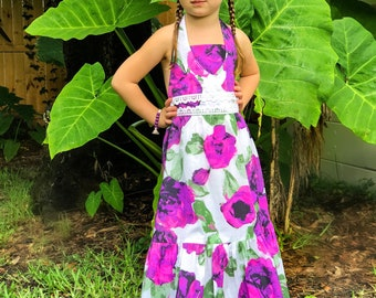 Girl Summer Maxi Dress w/Purple Flowers, Girls Maxi Dress, Halter Dress, Girls Dress, Maxi Dress - Sizes 4/5, 6/6X, 7/8, 10-Ready to Ship