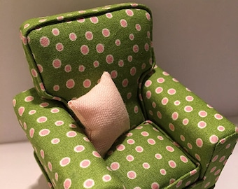 Miniature Dollhouse Upholstered Chair - Beautiful Pink and White Dots on Green Background with 1 1/4inch Throw Pillow