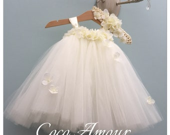 2866babb44f0 Ivory Hydrangea Dress - Christening Gown - Flower Girl Dress - Tulle Tutu -  Special Occasion - Baby Girl - Toddler - Coordinating Headband