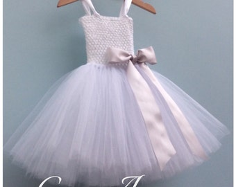 White Flower Girl Tutu Dress, bow detail, ages 1-12 years, more colours available.
