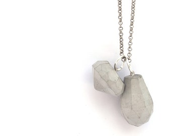 Concrete Jewelry, Jewelry gift for her, Long Silver Necklace, Geometric Concrete Necklace, 925 Sterling Silver Chain, Architectural Diamond