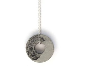 Concrete Jewelry, Circle Necklace, Hoop Pendant, Gold Filled Necklace, Silver Contemporary Jewelry, Minimalist Geometric Long Necklace