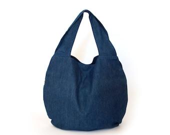 Large blue tote bag for women, Denim boho bag,  Slouchy Shoulder Shopper Bag, Womens Shoulder Bag, Vegan Bag, Everyday Oversized Handbag