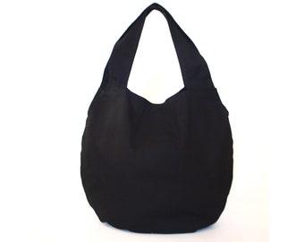 Black hobo bag, Vegan Eco Gift for her, Large tote bag,  Slouchy Shoulder Shopper Bag, Daily everyday bag, Oversized comfortable vegan bag