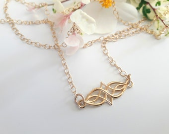 Celtic Knot Infinity Necklace for Women, Dainty Friendship Jewelry, Delicate Layering Necklace, Irish Wedding, Spiritual Eternity Symbol