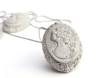 Victorian Cameo Necklace, Concrete jewelry, Romantic Necklace, Vintage Inspired, Concrete Necklace, Long Silver Necklace