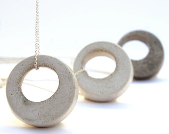 Concrete Jewelry Gift for her, Long Silver Necklace, Geometric Circle Necklace, Minimalist Jewelry Modern Concrete Necklace for Men Gift him