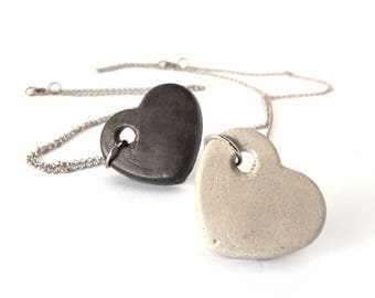 Set of 2 matching heart necklace made from concrete