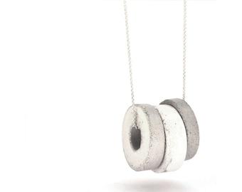 Concrete Jewelry, Hoop Necklace, Triple Circle Necklace, Silver Long Necklace, Contemporary Jewelry, Minimalist Jewelry, Geometric Jewelry