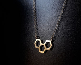 Honeycomb pendant necklace for women | Dainty gold filled chain necklace for women