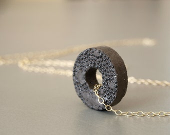 Architectural concrete circle necklace - Gold-filled OOAK jewelry