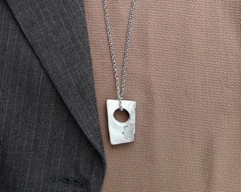 Geometric pendant necklace for men, Modern Concrete jewelry, Bold Edgy Silver long necklace, Minimalist gray architectural jewelry, Rhombus