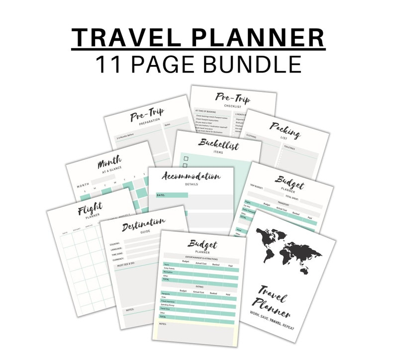 Printable Travel Planner Vacation Planning Set  11 Pages for image 0