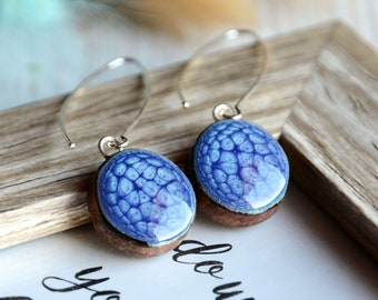 Long blue dangle earrings, hand painted wooden earrings with sterling silver 925 wires and gift box
