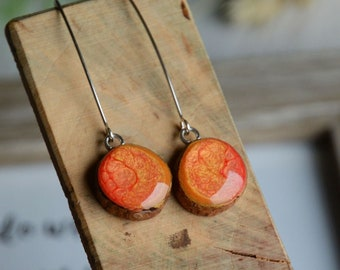 Long orange dangle earrings - Inspired by burning flame - Hand painted wood and sterling silver jewelry