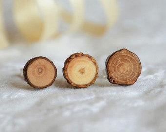 Mens stud earring, one singular earring for men, men wood post stud earing, wooden stud for men, simple mens jewelry, guy earring, mens gift