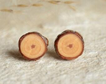 Little wooden studs, natural wood earring studs, silver post stud earrings, minimalist organic jewelry, natural raw earrings, grain wood