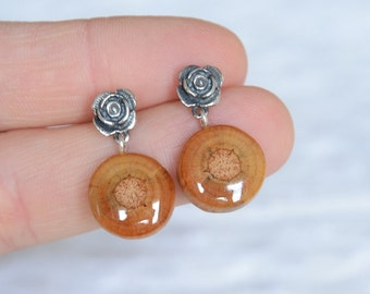 Sterling silver and wood dangling earrings, wooden dangle earrings, gift made of wood, silver 925 flower earrings MyPieceOfWood