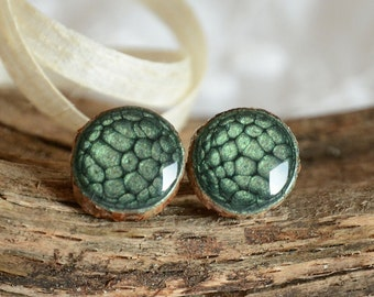 Natural green earrings, big wooden studs, green ear studs, woodland tree jewelry, green shades jewellery in wooden box