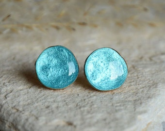 Ice cyan earrings, sterling silver ear posts, metallic teal wooden gems jewelry, reclaimed wood, upcycled ecofriendly timber jewelry