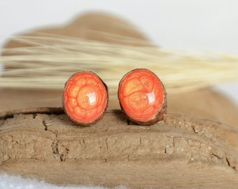 Tiny handmade wooden stud earrings with sterling silver posts, little orange and red studs burning flame inspired jewelry