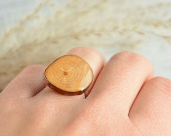 Statement unique ring for her, earthy ring, organic wood ring, tree branch forest ring, ring in jewelry box, gift for her
