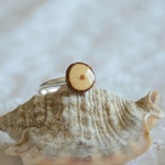 Natural ring made of recycled wood and sterling silver, adjustable size