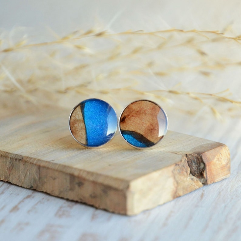 Aqua blue stud earrings  Blue resin and wood jewelry with image 0