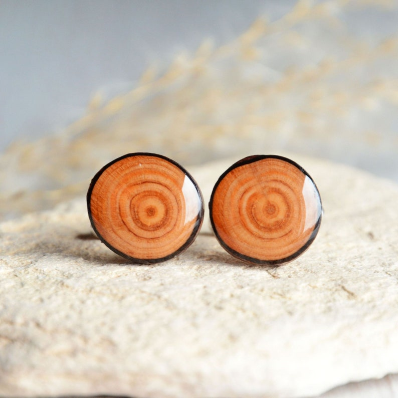 Natural rustic wood cufflinks  Wooden cuff links in gift box image 0