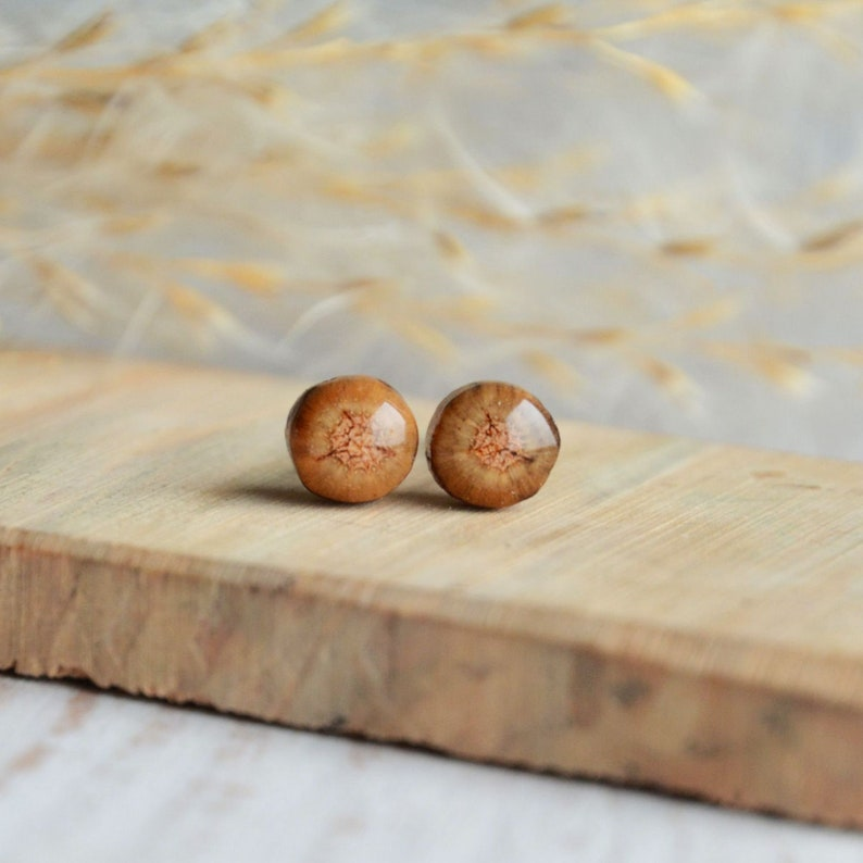 Earthy wooden ear studs  natural woodland jewelry made of image 0