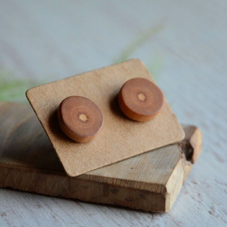 Wooden studs earrings made from reclaimed wood and silver  image 0