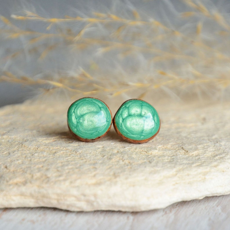 Light green stud earrings with silver posts  pearly green image 0