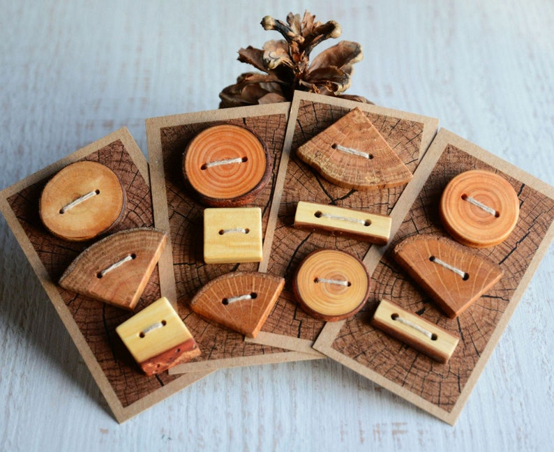 Natural wood buttons set of 3  Decorative wooden buttons with image 0