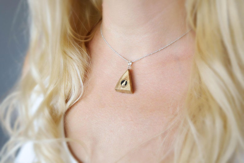 Howling wolf pendant in wood  Wooden mountain pendant with image 0