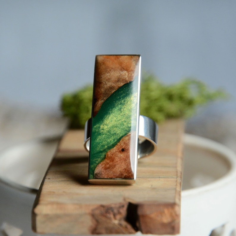 Statement rectangular gem ring made from wood green resin and image 0